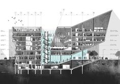 Harjot Rai, Birmingham School of Architecture Section Drawing Architecture, Architecture Sketchbook, Architecture Graphics, Architecture Visualization, Concept Architecture, Architecture Portfolio, House Architecture, Architectural Floor Plans, Architectural Section