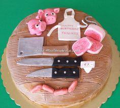 Butcher cake - Cake by Ritsa Demetriadou Fondant Figures Tutorial, Cake Tutorial, Cupcakes, Cake Cookies, Pigs In Mud Cake, Chef Cake, Birthday Cakes For Men, Sweet Bakery, Celebration Cakes