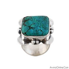 Rough Turquoise Gemstone Silver Ring