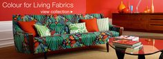 Sanderson - Rainforest fabric (on sofa) Tropical Sofas, Loft, Soft Furnishings, Decoration, Interior Inspiration, Snug, Couch, Contemporary, Prints