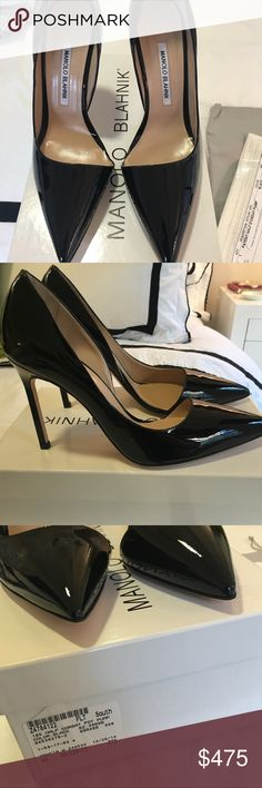 Manolo Blahnik Half D'Orsay in Black Patent Gorgeous Brand New In Box - Manolo Blahnik Half D'Orsay in Black Patent Leather. Purchased from Neiman Marcus online a few years ago and they've been sitting in my closet.  4in heel   No Trades / Serious Buyers Only  Will not ship packing slip for security purposes. Manolo Blahnik Shoes Heels