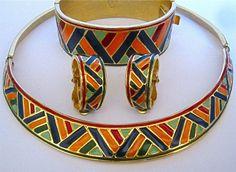 Rare Vintage Scemama & YSL Yves Saint Laurent Bracelet Earrings Necklace Parure