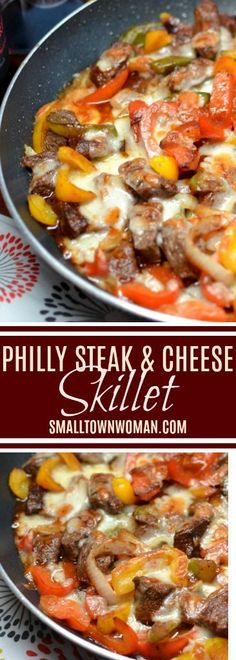 Philly Steak And Cheese Skillet Low Carb Recipe Philly Steak and Cheese Recipe One Skillet Recipe Steak Recipe Dinner Comfort Food Small Town Woman Via Easy Steak Recipes, Grilled Steak Recipes, Healthy Diet Recipes, Beef Recipes, Low Carb Recipes, Cooking Recipes, Steak Meals, Cooking Steak, Keto Steak Recipe