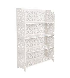 Étagère Armoire Étagère de position ouverte: Ce petit meuble de rangement blanc ajouré s'adapte facilement à l'environnement souhaité - que…