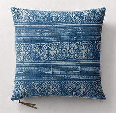 Batik Mud-Resist Stripe Pillow Cover - Square
