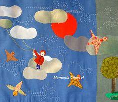 """~  Manuella Chevrel  ~               : Je reviens....  Mais je déménage...    A bientôt Chaque tableau est une création unique entièrement faite à l'aiguille; j'emploie différents tissus, du lin, du chanvre, du liberty , du coton etc. Les différentes matières ,points, épaisseurs varient. Je m'intéresse aux dictons populaires, riches en images, aux ressemblances, à l'imagerie enfantine et crée des """"mondes imaginaires""""."""