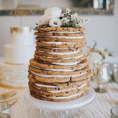 Chocolate chip cookie wedding cake by Great Dane bakery
