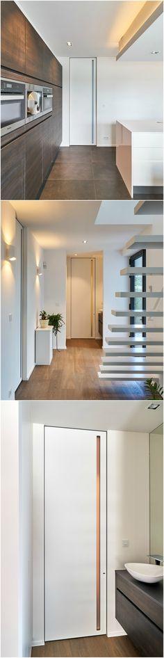 Moderne binnendeuren kamerhoog met een onzichtbare IBO-omlijsting van het Belgische merk Anyway Doors.