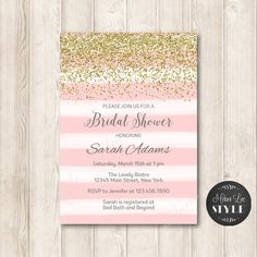 Pink and Gold Glitter Bridal Shower Invitation, Modern Light Pink WATERCOLOR Stripes Printable Invites, 5x7 JPG