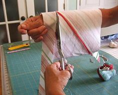 EXCELLENT bias strip tutorial! Start with relatively small square of fabric, so you have no waste or odd shaped pieces of fabric left over.A 13 1/2 inch square yields 3 yards of 1 1/2 inch bias strips..wonderful..