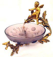 Antique French BonBon Dish, Amethyst  Glass & Cherub Gilt Holder Stand