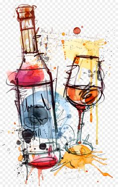 Red Wine Bottle Rosé Clip art - Watercolor wine glass and bottle Pino