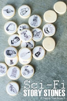 """Story Stones Basically you put the """"stones"""" in a bag and kids pull them out and make up stories. But this could also be a kids and adult game.  You can use small flatish objects."""