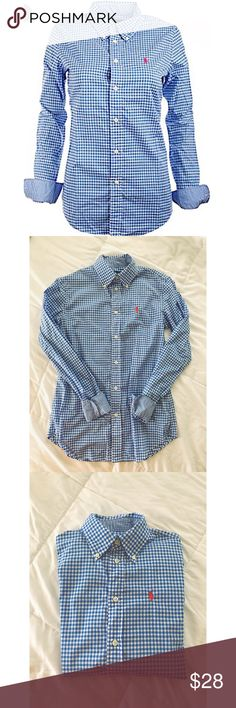 • Enjoy it All • Size = 2 , Customer Fit Button down from Ralph Lauren, blue and white gingham pattern style, checkered pattern under sleeve cuff, pink logo pony, only worn once, like new condition.     ~ I DO NOT SWAP, SO PLEASE DON'T ASK. YOU WILL BE IGNORED.  ~ I NO LONGER HOLD MY ITEMS, FIRST COME FIRST SERVE.   ~YOUR PURCHASE WILL BE SHIPPED WITHIN 24-48 HOURS AFTER PURCHASED  ~I AM MORE THAN HAPPY TO MAKE YOU A BUNDLE Ralph Lauren Tops Button Down Shirts