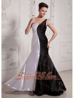 Luxuious White and Black One Shoulder Prom Celebrity Dress MILNODLONG039-fashionos.com  charming pageant dress | fabulous pageant dresses | luxurious pageant dresses | cute dress for the pageant hour | wonderful pageant suit | glamorous pageant dresses | shinning pageant suit | customize prom dress | prom pageant dress | affordable prom dress |
