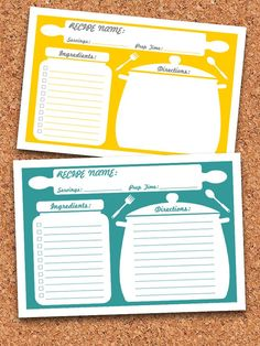 Recipe Cards Printable Editable INSTANT by FreshandOrganized