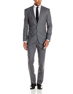 Kenneth Cole New York Men's Grey Solid Slim-Fit Two-Button Suit