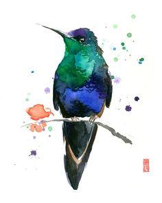 Hummingbird in Green Watercolor Painting Fine Art Giclee Print / Bird Painting / Animal Art / Wildlife Paintings