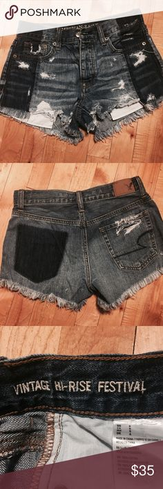 Festival Shorts👖 Two Tone Vintage Hi Rise Jean NWOT Bought these adorable two tone hi rise festival shorts at AEO but need a size smaller. For sale or trade for a 00🌸🦋 American Eagle Outfitters Shorts Jean Shorts