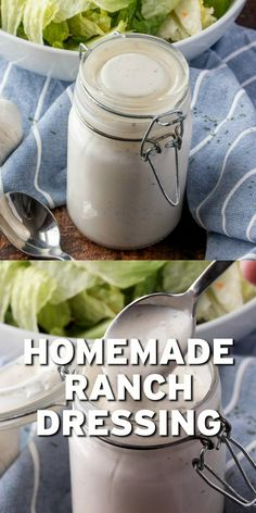 This Homemade Ranch Dressing is the best tasting dressing! Buttermilk, mayonnaise, sour cream and the perfect blend of seasonings and garlic! Buttermilk Ranch Dressing, Homemade Ranch Dressing, Sour Cream Salad Dressing, Best Ranch Dressing, Creamy Garlic Dressing, Healthy Ranch Dressing, Hidden Valley Ranch Dressing, Avocado Ranch Dressing, Healthy Recipes