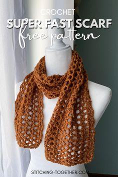 V Stitch Crochet, Crochet Lace Scarf, One Skein Crochet, Crochet Cowl Free Pattern, Quick Crochet, Basic Crochet Stitches, Crochet Scarves, Crochet Yarn, Crochet Clothes