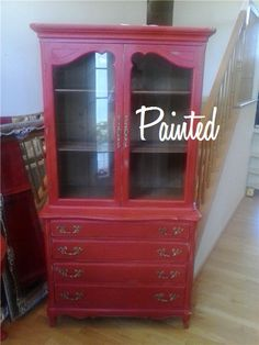 Sold-Red French China Cabinet – Painted Furniture Fredericksburg VA