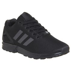 Adidas Zx Flux ($100) ❤ liked on Polyvore featuring shoes, sneakers, black, trainers, unisex sports, unisex shoes, retro shoes, adidas footwear, adidas sneakers and black shoes