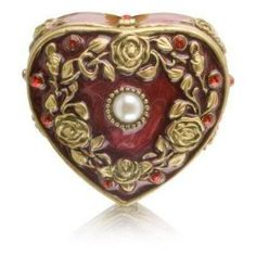 Red Heart Trinket Box with Red Rhinestones and Pearl Center Jewelry Boxes / sold & shipped by BeautyEncounter, image via amazon.com |Pinned from PinTo for iPad|