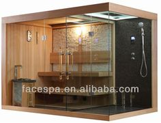 Steam sauna shower combination hammam New product for house designs Sauna Shower, Bathroom Shower Panels, Steam Showers Bathroom, Bathroom Spa, Modern Bathroom, Home Spa Room, Spa Rooms, Saunas, Cabine Sauna