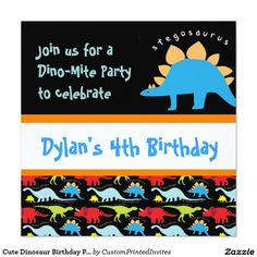"Cute Dinosaur Birthday Party Invitations Black 5.25"" Square Invitations.  Two Sided.  #birthday #kids #dinosaur"