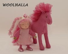 Pink Wool Felt Horse Waldorf toy pony toy horse by woolhalla, $55.00
