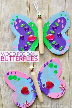 Have an afternoon full of fun making this colorful wood peg doll butterfly craft. It makes a great spring craft for kids. Children will love getting creative making their own butterfly design with paint and bright craft jewels.