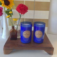Volcano Dupe Cobalt Blue Wine Bottle Soy Candle  by reSOYcle, $15.00