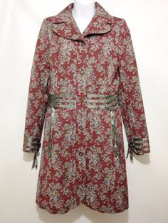 Free People Burgundy Tapestry Gray Ribbons Boho Retro Fitted Wool Coat Womens S #FreePeople #BasicCoat