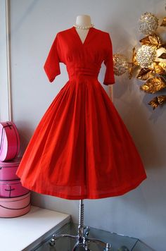 50s Dress // Vintage 1950's Cherry Red Dress with ... | Clothe : 1950…
