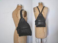 Backpack Bookbag Bag / Black Leather sling Purse by badbabyvintage on Etsy