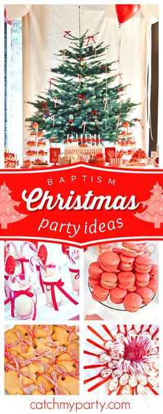 Don't miss this lovely Christmas Baptism! The dessert table and the Christmas tree backdrop are stunning!! See more party ideas and share yours at CatchMyParty.com #christmas #baptism
