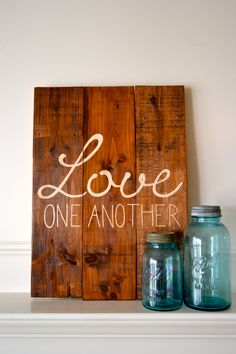 Reclaimed wood art sign: Love One Another. Great for a bedroom, or as a wedding gift.