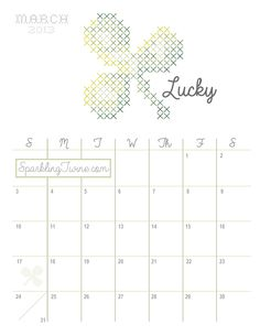 March 2013 Cross Stitch Calendar from SparklingTwine.com St. Patricks Day