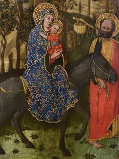 """GIOVANNI FRANCESCO DA RIMINI (Attribué),1440-50 - Vie de la Vierge, La Fuite en Egypte (Louvre) - Detail 02  -  TAGS / details détail détails painting paintings peintures """"peinture 15e"""" """"15th-century paintings"""" """"Moyen Âge"""" """"Middle age"""" Museum Paris France Italie Italy Italia Bible prière prayer Bless sacred holy blessed Virgin Jésus Jesus Enfant Child kid family famille """"St Joseph"""" """"da Rimini"""" trône throne âne donkey animal animals animaux basket panier voyage trip foliage feuillage nature"""