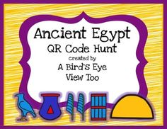 Ancient Egypt research using QR codes!This QR code scavenger hunt can be used as an introduction to your Ancient Egypt unit or as a review at the end of the unit.  All the video clips have been run through SafeShare and all the codes lead to child-friendly websites.
