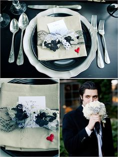 black, white and red wedding color scheme ideas