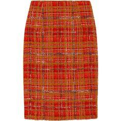 Carolina Herrera Plaid bouclé skirt ($340) ❤ liked on Polyvore featuring skirts, bottoms, carolina herrera, saias, pencil skirt, red pencil skirt, red skirt, red knee length skirt, plaid pencil skirt and silk pencil skirt