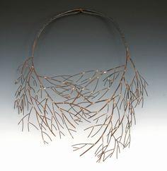 winter bloom neckpiece by Leia Zumbro - soldered steel neckpiece with hinge in back