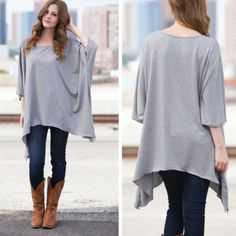 •oversized tunic• Oversized heather gray top. Material is 87% poly, 9% rayon and 4% spandex. Drapes beautifully and would go great with colored leggings! Price is FIRM UNLESS BUNDLED. Tops Tunics