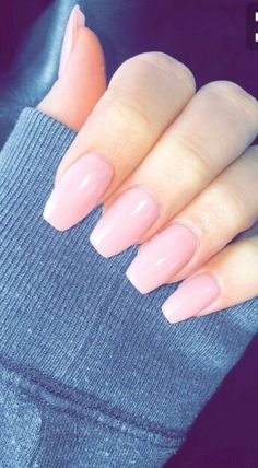 Hottest Trends for Acrylic Nail Shapes Light Pink Acrylic Nails, Square Acrylic Nails, Acrylic Nail Shapes, Cute Nails, Pretty Nails, My Nails, Coffin Shape Nails, Pink Coffin, Tapered Square Nails