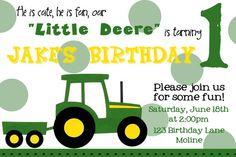 John Deere Invitation - For Liam's 1st birthday.