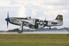 The North American Mustang 'Jumpin' Jacques' (G-SIJJ) throws up spray as it takes off from a wet runway during the 2004 Kemble Air Day. P51 Mustang, Mustangs, World War Ii, Ol, Wwii, Fighter Jets, Aircraft, Runway, American