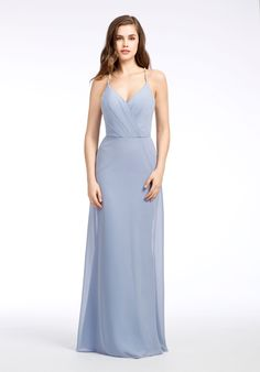 Cornflower chiffon A-line bridesmaid gown, cross-over draped neckline, natural waist, beaded detail at waist and bac