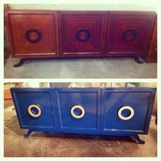 Before & After - Blue lacquered credenza with gold leafed hardware. www.scoutdesignstudio.com